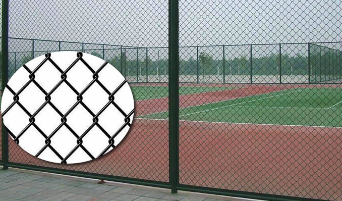 Black Vinyl Coated Aluminum Fence Panels in Chain Link Structure